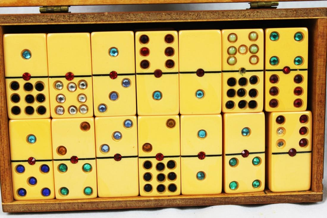Antique Dominoes in Wood Box - 5