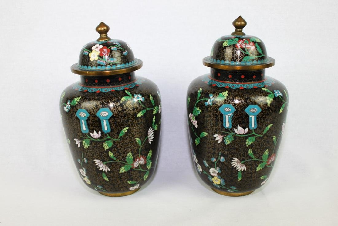 Two Large Chinese cloisonne vase made with bronze and