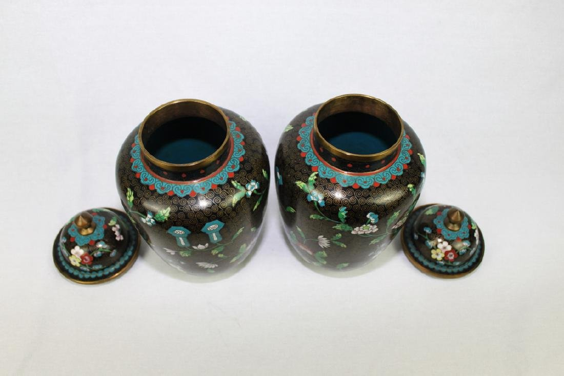 Two Large Chinese cloisonne vase made with bronze and - 3