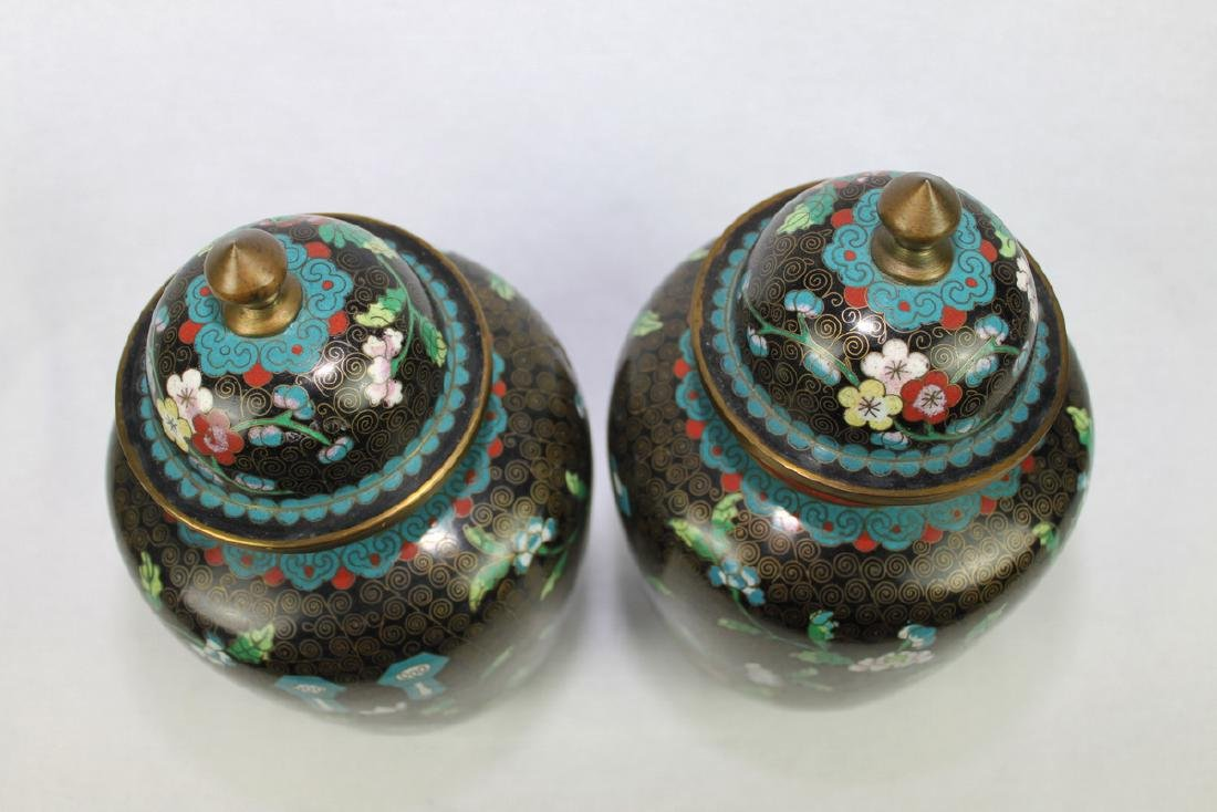 Two Large Chinese cloisonne vase made with bronze and - 4