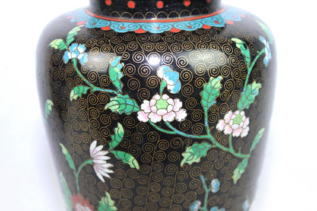Two Large Chinese cloisonne vase made with bronze and - 6