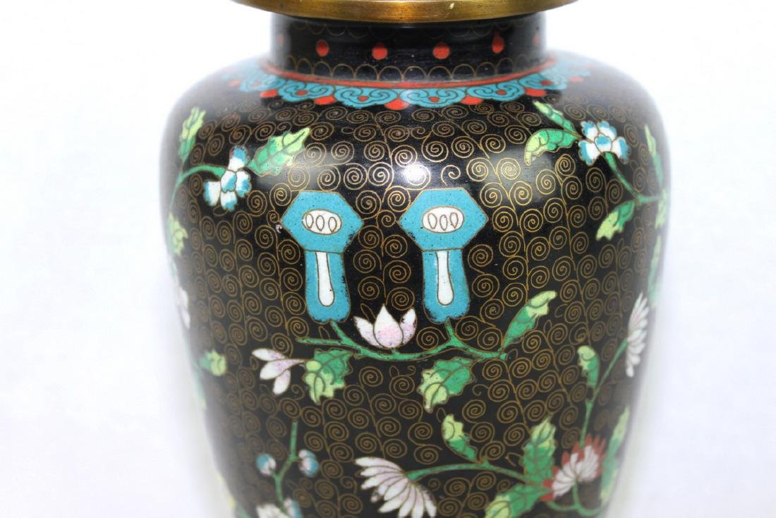 Two Large Chinese cloisonne vase made with bronze and - 8