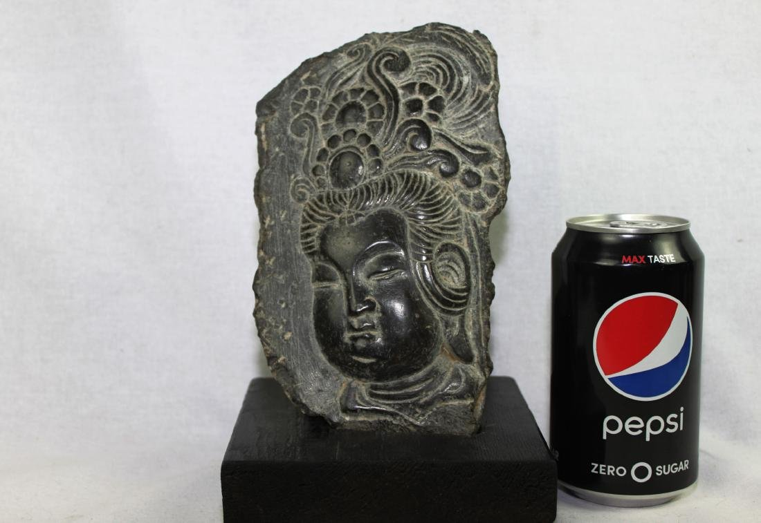 Hand Carved Stone Photo of Guanyin