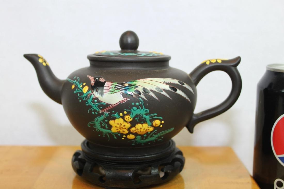 Chinese Yi Xing Zisha Teapot w/ wood stand