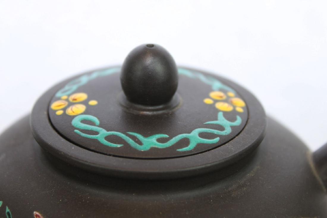 Chinese Yi Xing Zisha Teapot w/ wood stand - 2