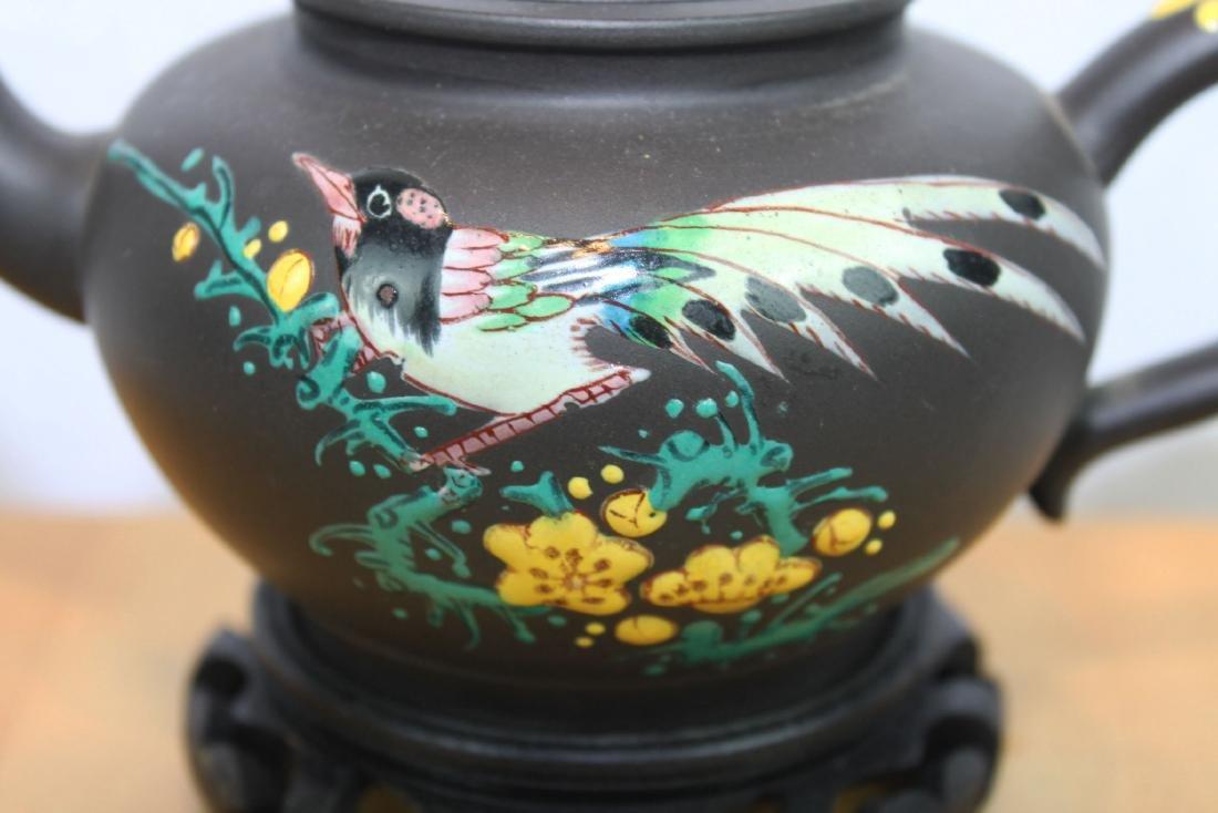 Chinese Yi Xing Zisha Teapot w/ wood stand - 4