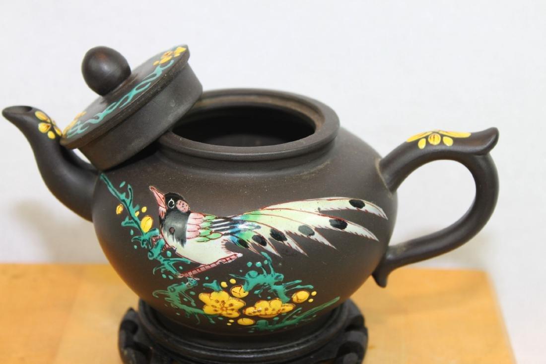 Chinese Yi Xing Zisha Teapot w/ wood stand - 5