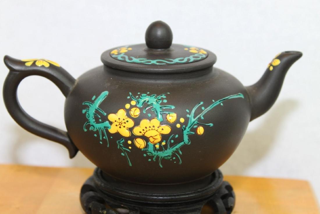 Chinese Yi Xing Zisha Teapot w/ wood stand - 6