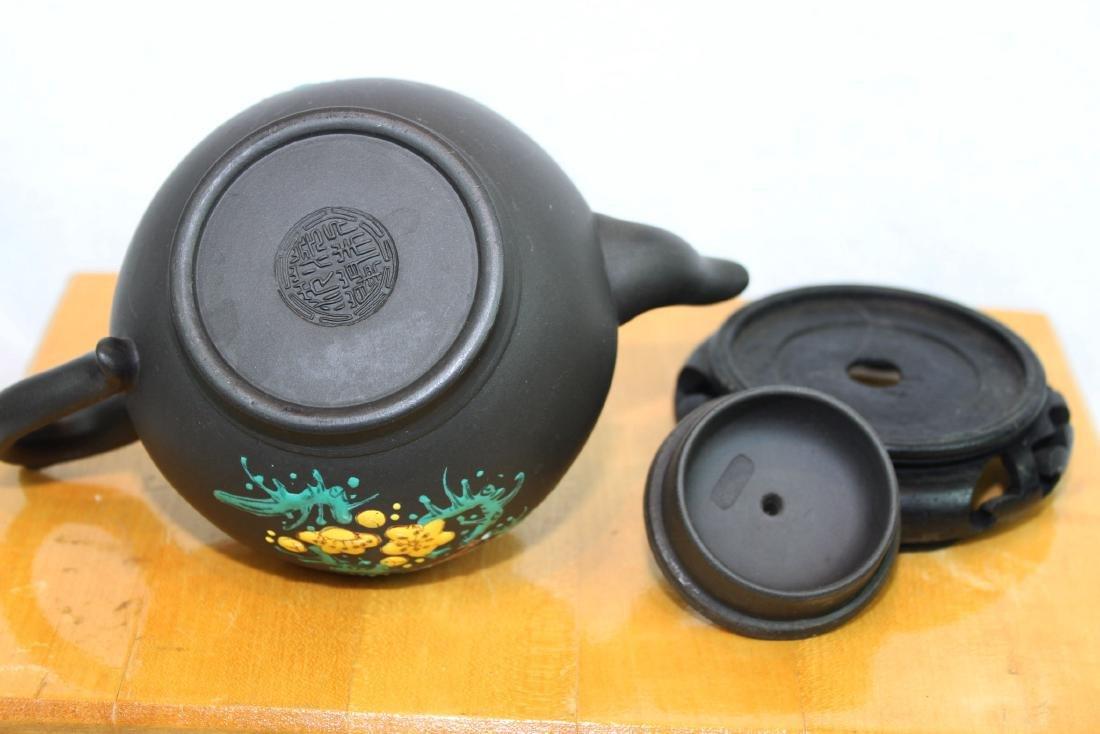 Chinese Yi Xing Zisha Teapot w/ wood stand - 7