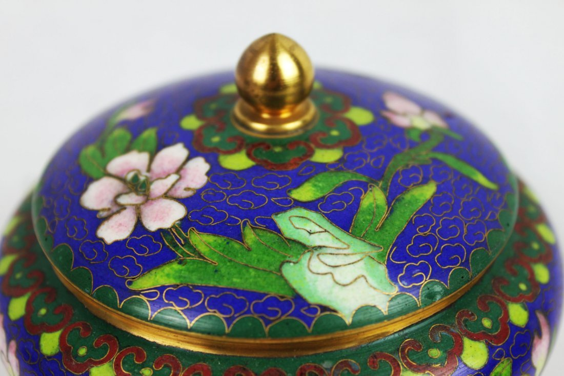 Chinese Cloisonne Bowl w/wood stand - 2