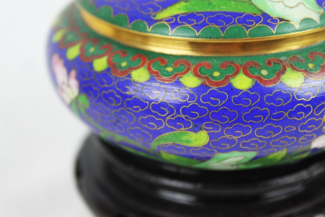 Chinese Cloisonne Bowl w/wood stand - 3