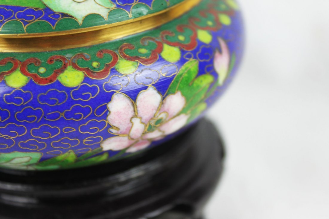 Chinese Cloisonne Bowl w/wood stand - 4