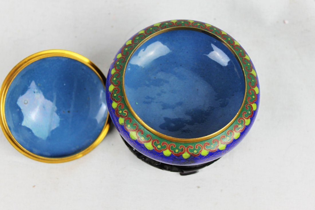 Chinese Cloisonne Bowl w/wood stand - 5