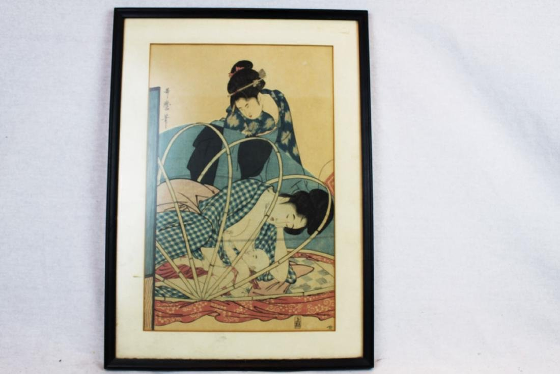Antique Japanese Woodblock Painting-Takashima Ohisa
