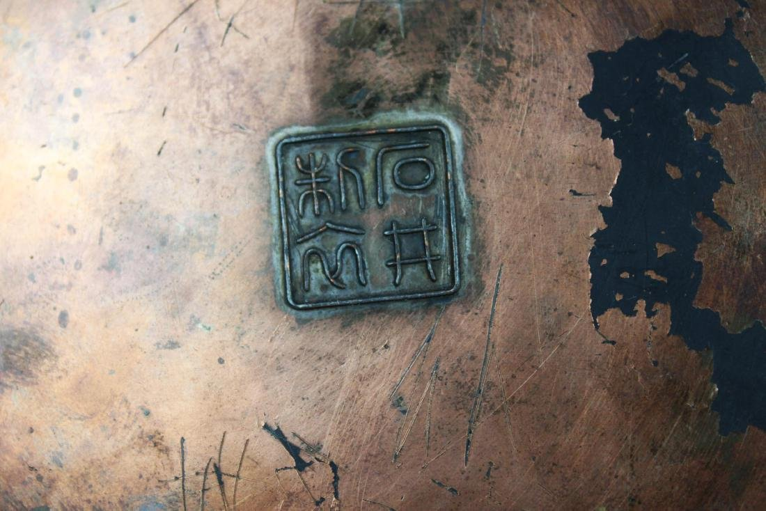 Antique Bronze Plate with Wood stand - 10
