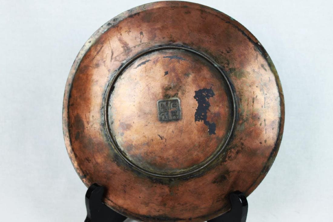 Antique Bronze Plate with Wood stand - 9