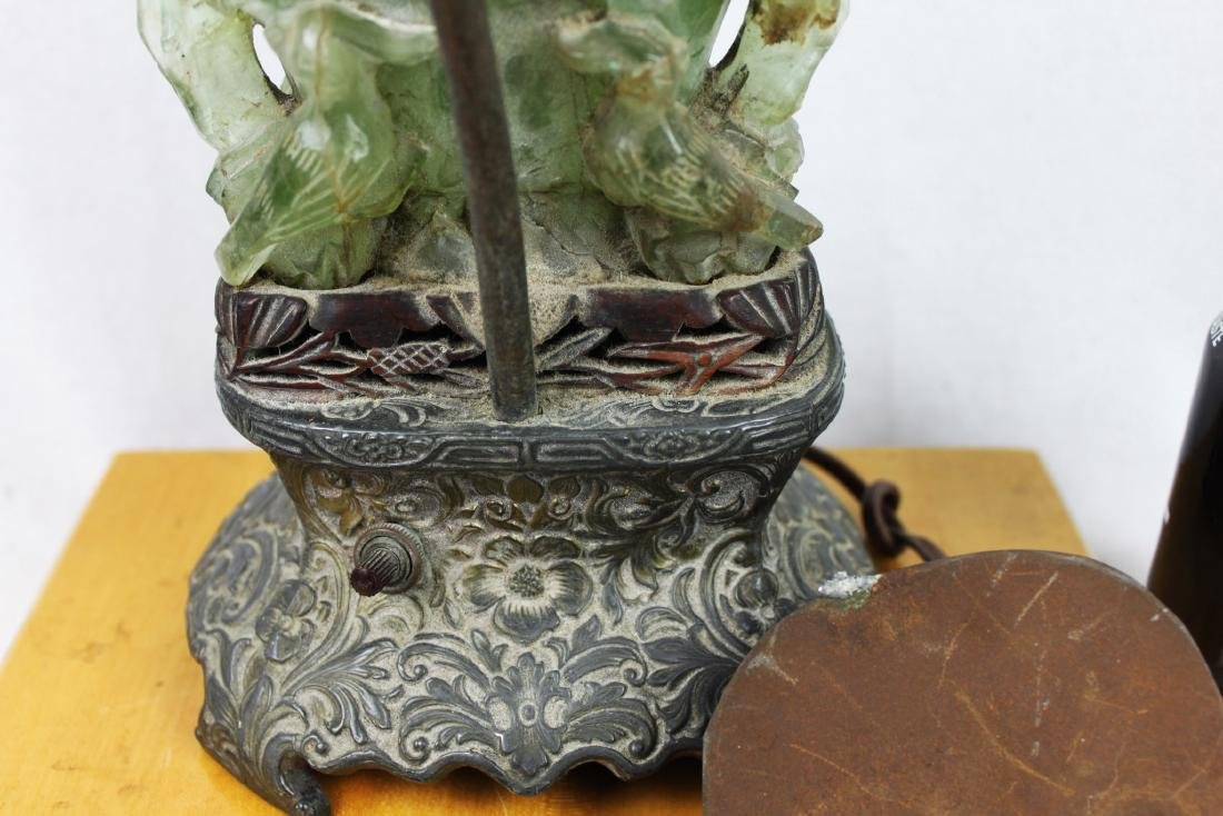 Antique Hand Carved Jade Lamp - 9