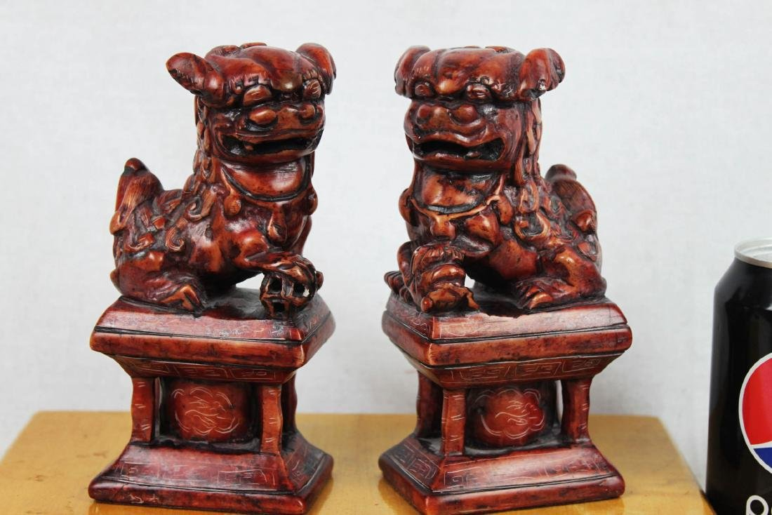 A Pair of Hand Carved Lions Stone Statues