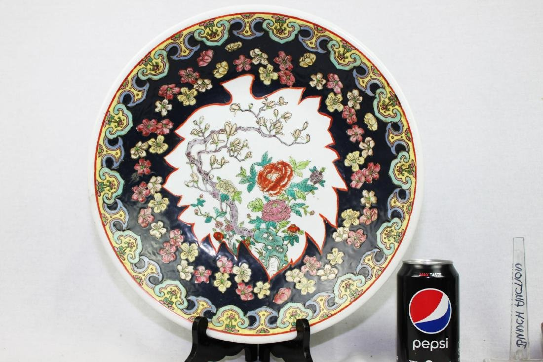 Large Antique Chinese Famille Rose Porcelain Plate