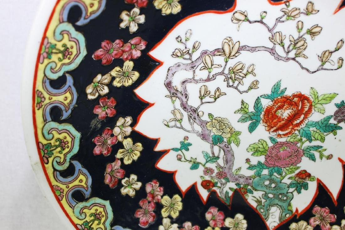 Large Antique Chinese Famille Rose Porcelain Plate - 3