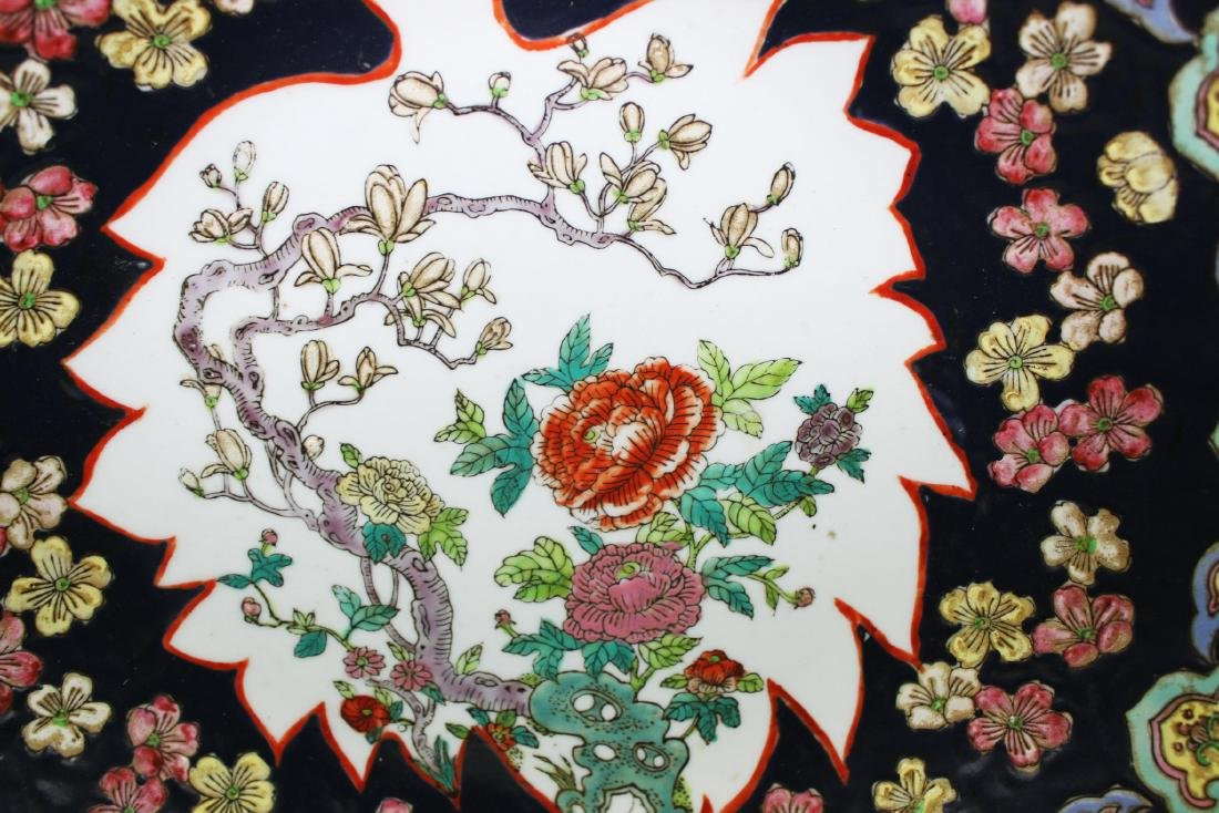 Large Antique Chinese Famille Rose Porcelain Plate - 4