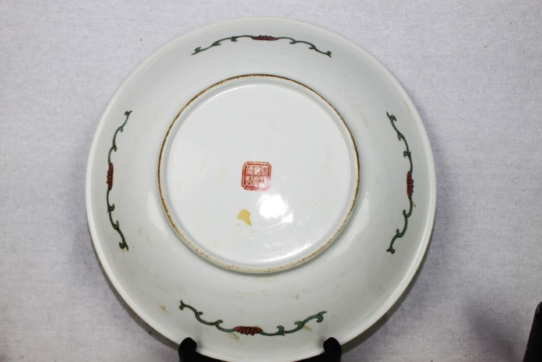 Large Antique Chinese Famille Rose Porcelain Plate - 7