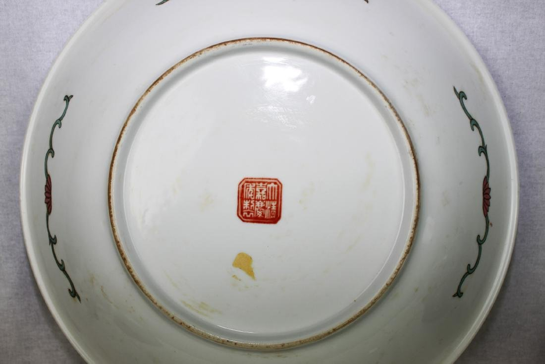 Large Antique Chinese Famille Rose Porcelain Plate - 9