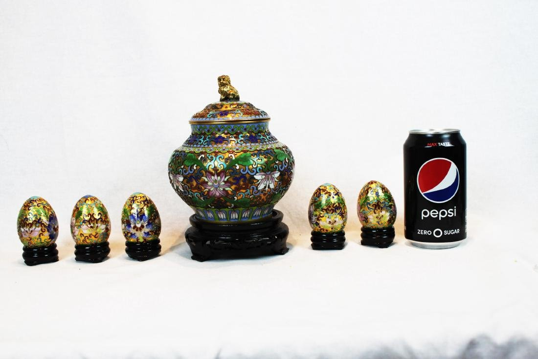 Six Pieces of Chinese Cloisonne Items with Wood Base