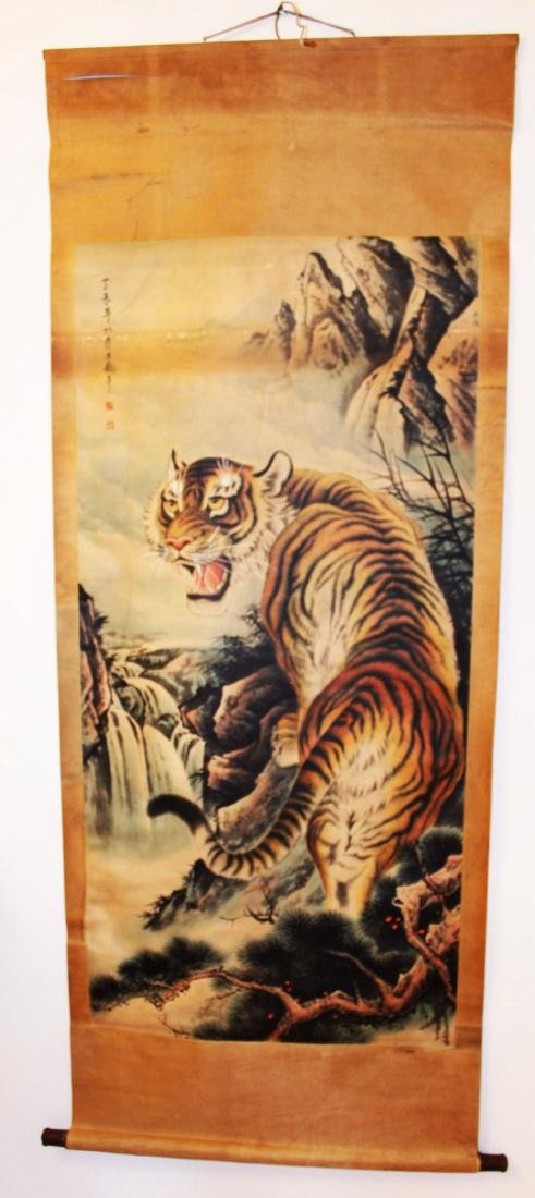 Antique Chinese Roller Painting of Tiger