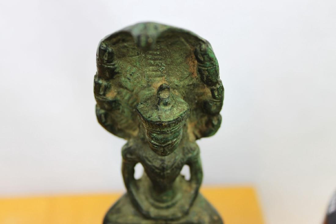 Antique Chinese Cobra shape Bronze Buddha Statue - 2
