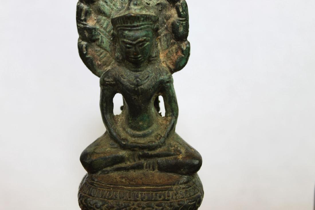 Antique Chinese Cobra shape Bronze Buddha Statue - 3