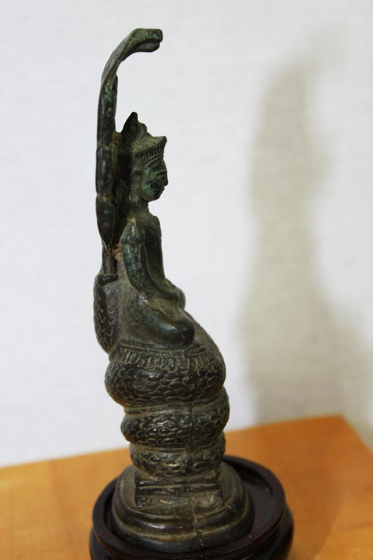 Antique Chinese Cobra shape Bronze Buddha Statue - 5