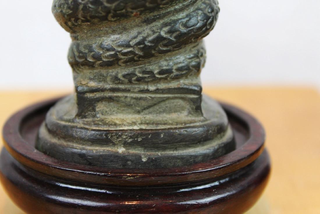 Antique Chinese Cobra shape Bronze Buddha Statue - 9