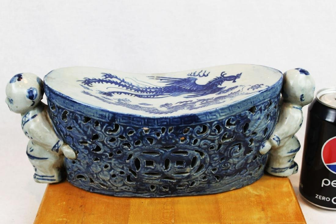Antique Chinese Blue&White Porcelain Pillow