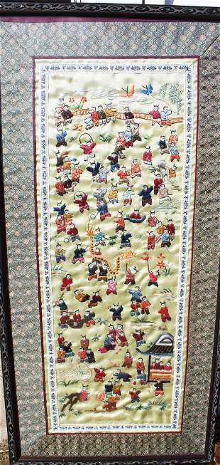 Antique Chinese Hand made Silk Painting