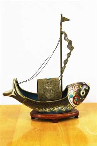 Antique Asian Cloisonne Bronze Fish Boat