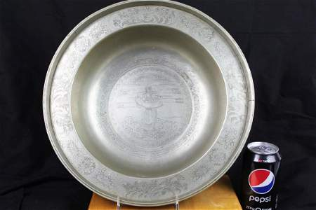 Antique Hand Carved Chinese White Bronze Plate