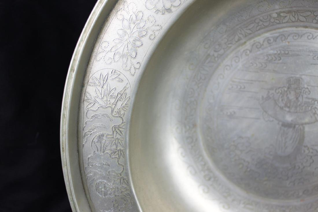Antique Hand Carved Chinese White Bronze Plate - 2