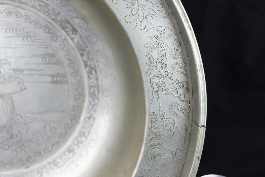Antique Hand Carved Chinese White Bronze Plate - 5