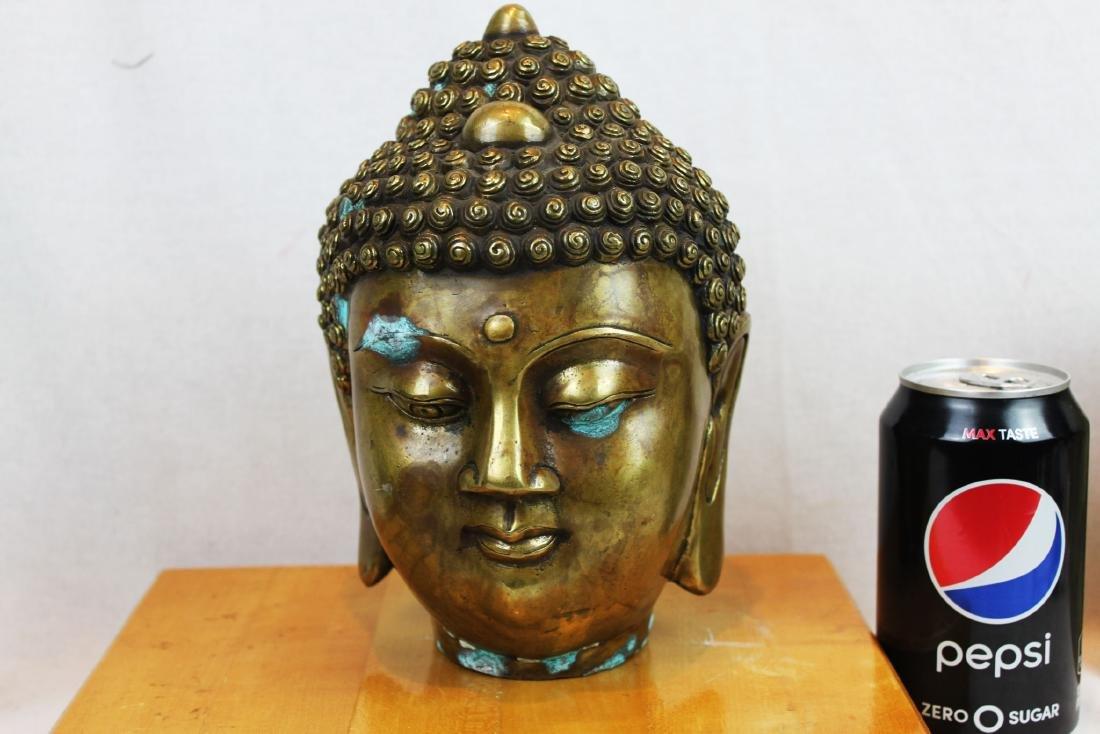 Antique Chinese Bronze Buddha Head Statue