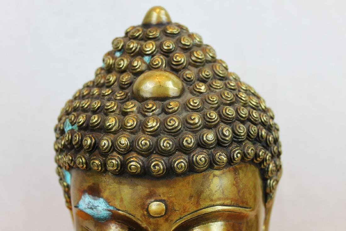 Antique Chinese Bronze Buddha Head Statue - 2