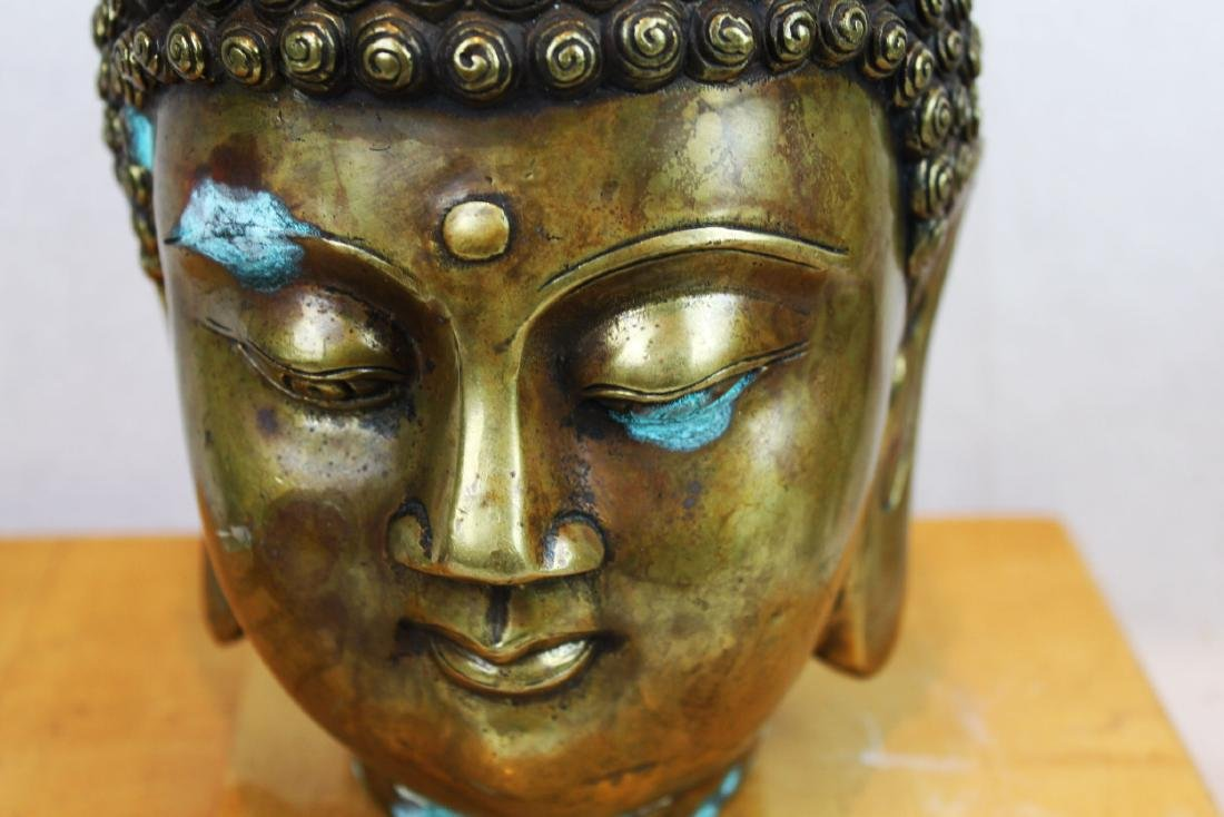 Antique Chinese Bronze Buddha Head Statue - 3