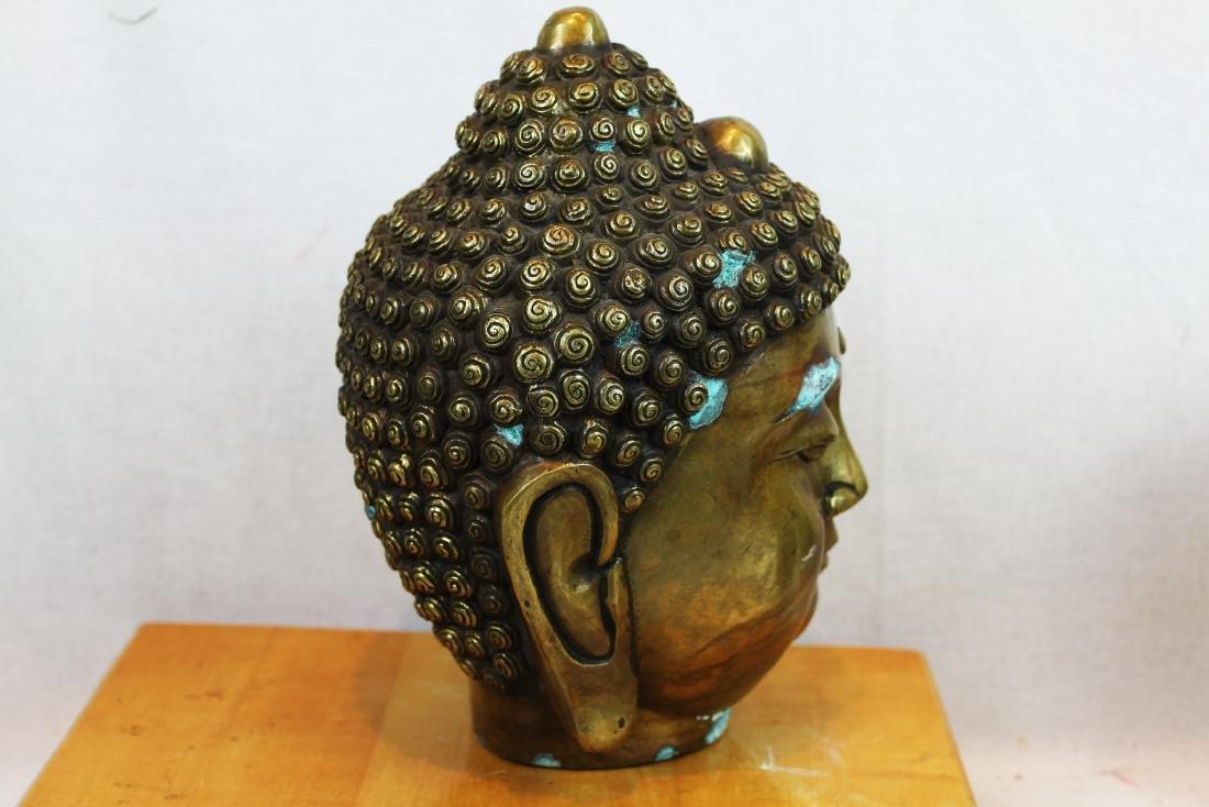 Antique Chinese Bronze Buddha Head Statue - 4