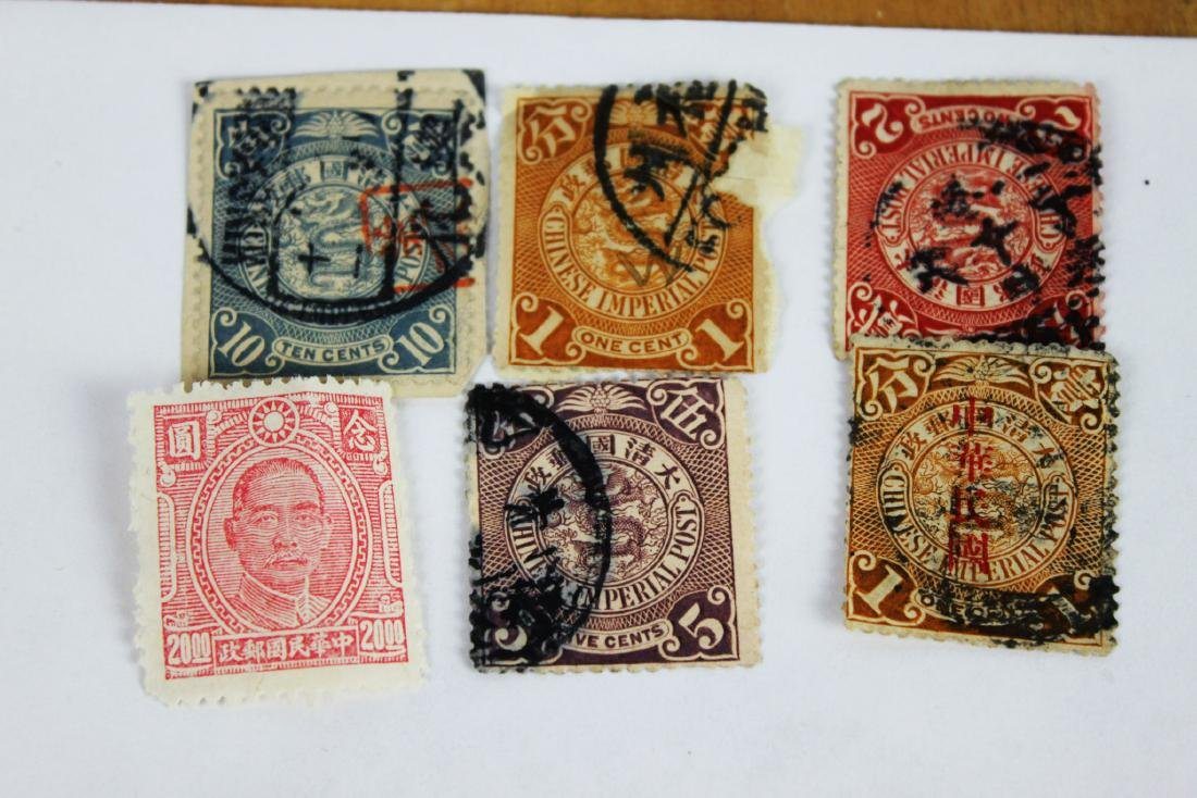 Antique Chinese Dragon Stamps+1 Song Zhongshan Stamp