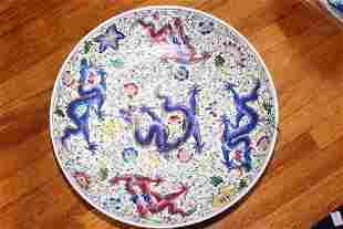 Antique Chinese Dragon Painting Porcelain Plate