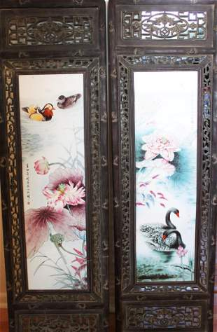 A Pair Antique Chinese Porcelain Painting panels