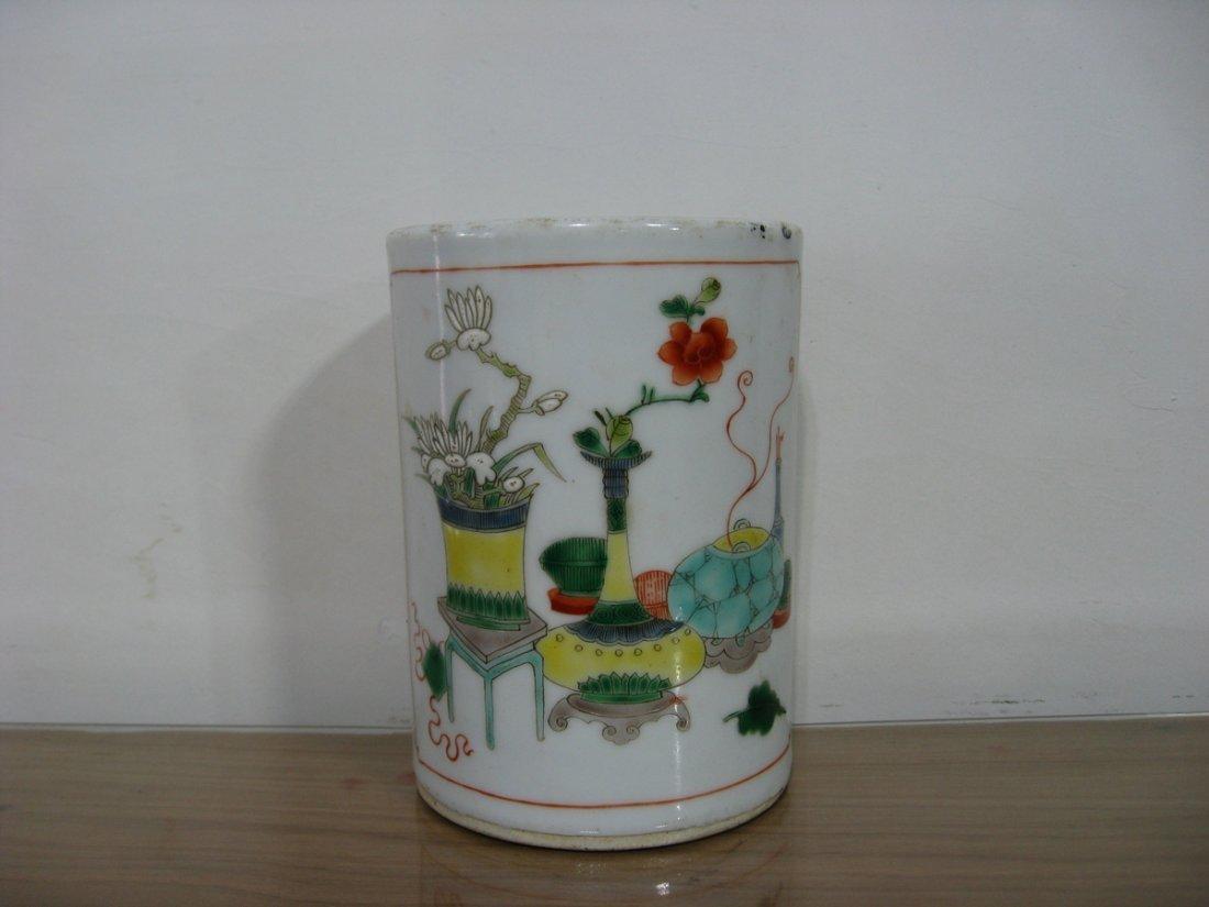 Antique Chinese Porcelain Pen Holder 1800s - 2