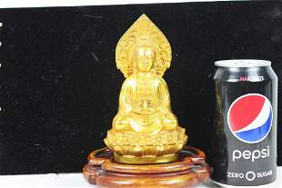 Gilt Bronze Guanyin Statue with Wood Base