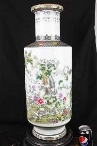 Antique Chinese Porcelain Vase w/ Bronze around.