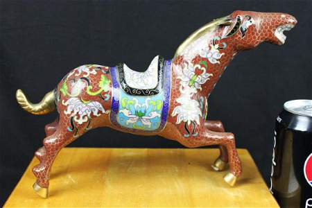 Antique Chinese Bronze Cloisonne Horse Statue